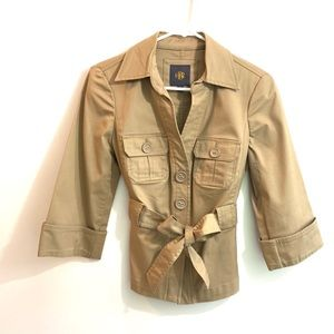 Beige Utility Jacket Cuffed Sleeves Belted Small